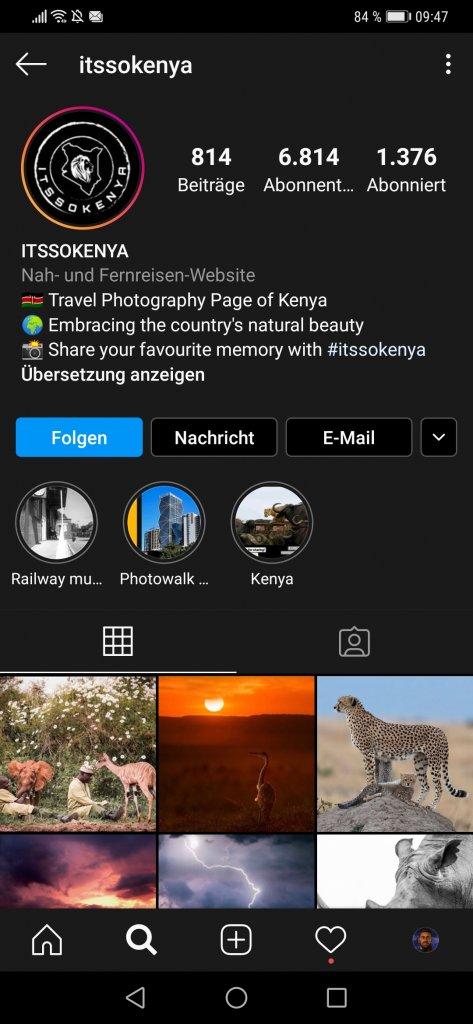 Eine geordnete Profilseite auf Instagram