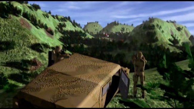 3D-Szene von Soldaten die Ausschau halten.