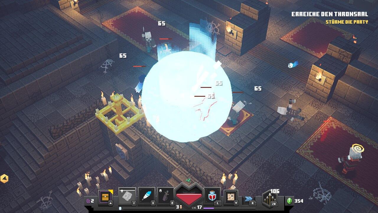 Artefakt im Minecraft Dungeons Test in Benutzung / Screenshot aus Minecraft Dungeons erstellt von Moritz Stoll
