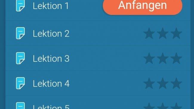 Screenshot Mondly Sprachlern-App Lektionen