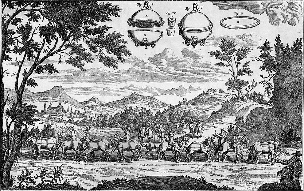 1657 demonstrierte der Magdeburger Bürgermeister und Physiker Otto von Guericke mithilfe der Magdeburger Halbkugeln die Kraft des Vakuums – quasi des Nichts. Dafür musste er aber vorher die Luftpumpe erfinden.