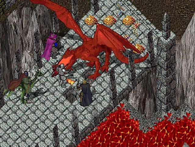 Eine Gruppe erlegt einen Drachen in Ultima Online
