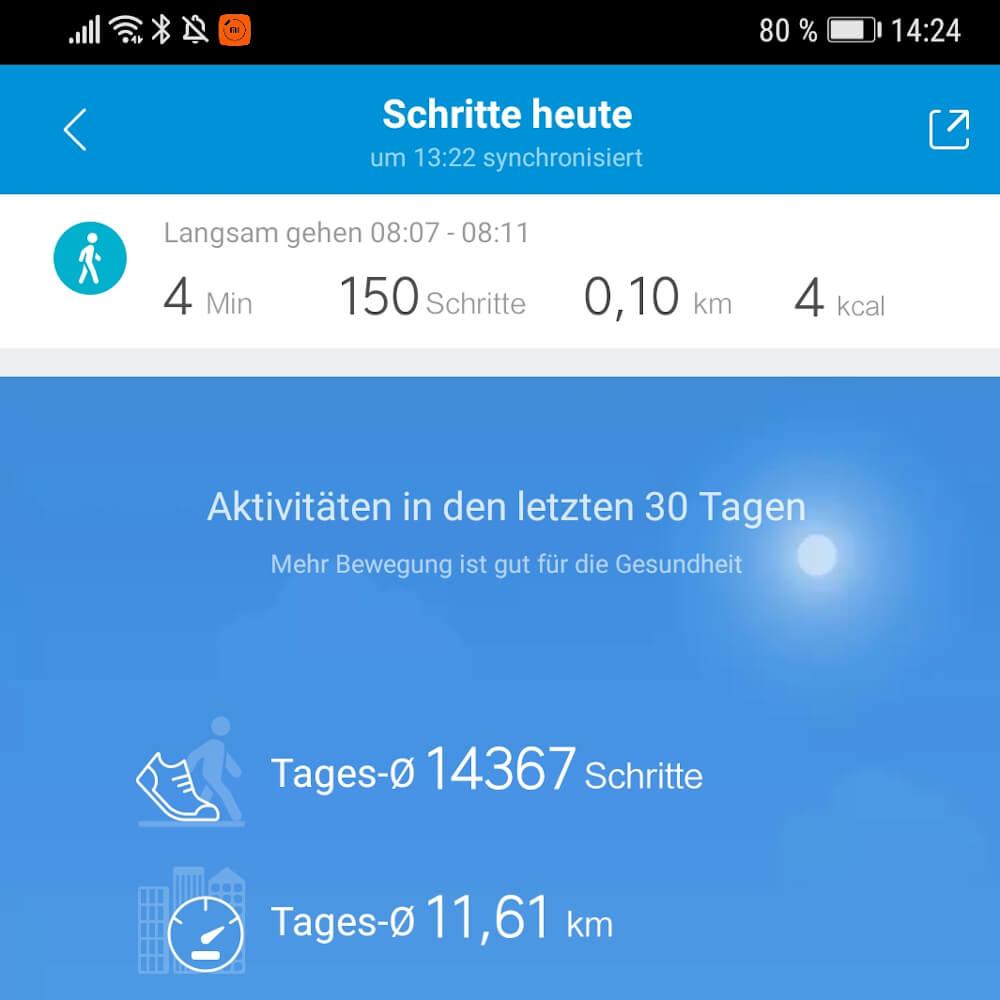 Eine Fitness App auf dem Smartphone