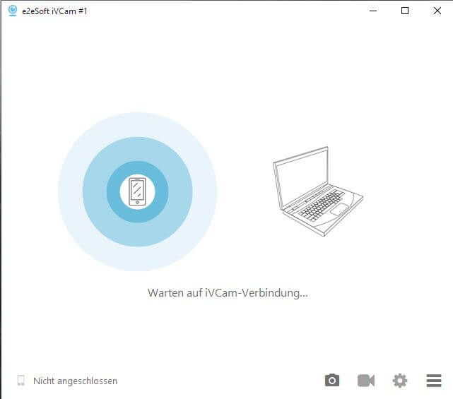iVCam Screenshot Desktop Anwendung