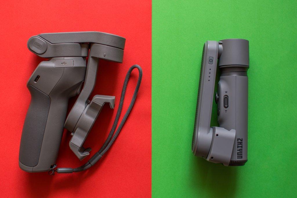 Packmaße des DJI Osmo Mobile 3 und Zhiyun Smooth X im direkten Vergleich