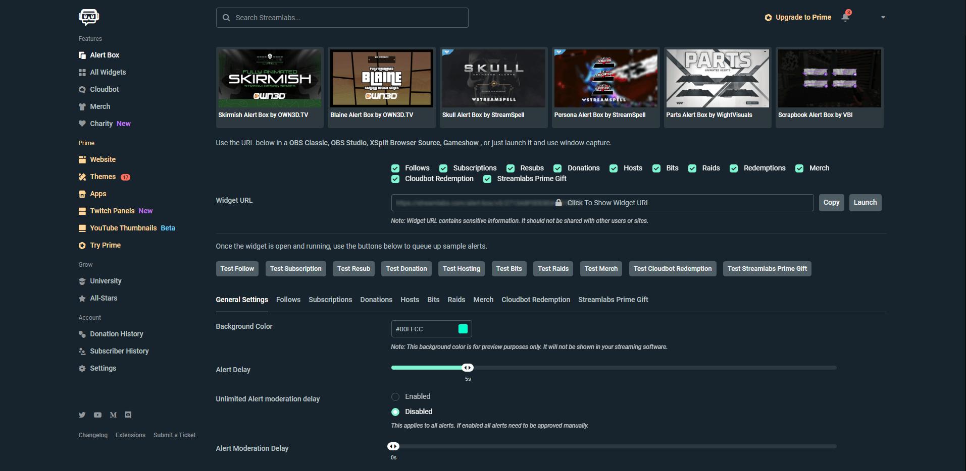 Alert Box einrichten im Streamlabs-Dashboard / Screenshot erstellt von Moritz Stoll