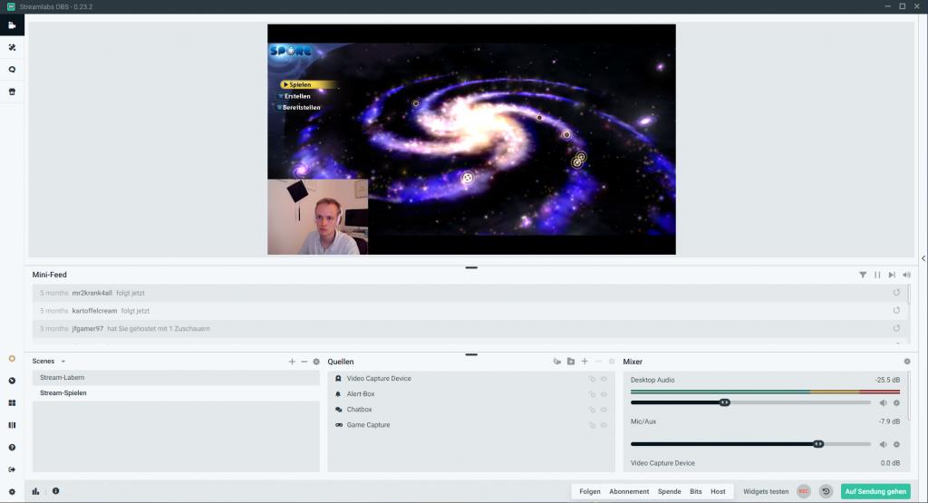 Twitch Streamer werden - fertige Szene / Screenshot aus Streamlabs OBS erstellt von Moritz Stoll