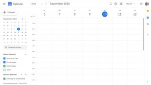 Screenshot aus dem Google Calender im Browser