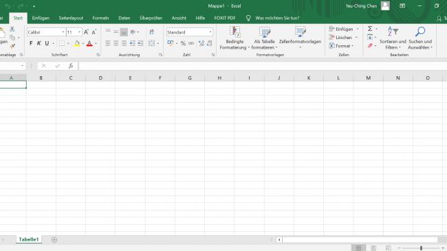 Screenshot aus Microsoft Exel erstellt von Yeu-Ching Chen
