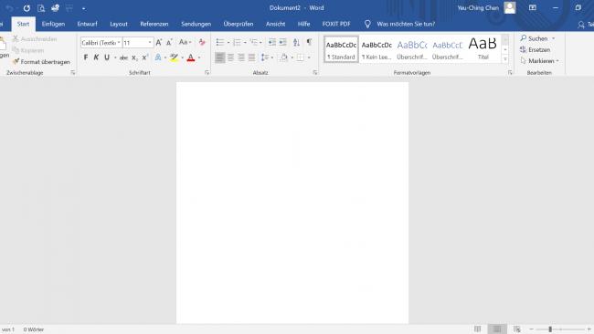 Screenshot von Microsoft Word erstellt von Yeu-Ching Chen