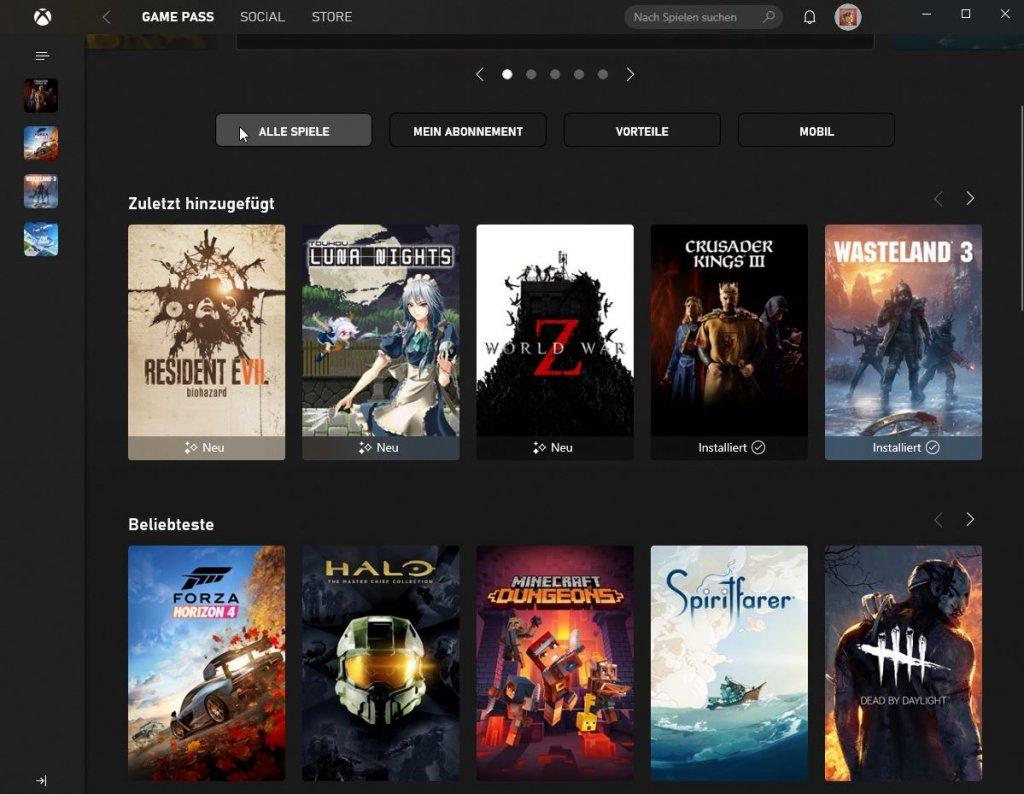 Oberfläche der Xbox App