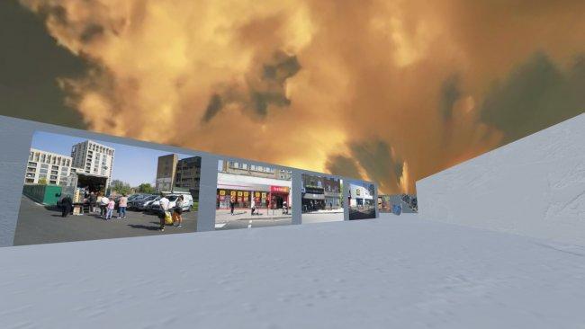 Das Bild zeigt ein einen selbst gestalteten Virtuellen Raum als Ausstellungsstück von Kara Agora
