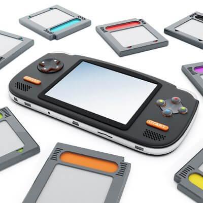 Das Bild zeigt eine Retro Handheld Konsole mit Retro Cartridges / Bild von Destina