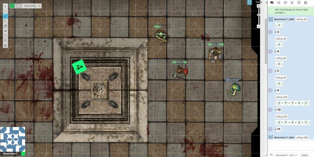 Das Bild zeigt einen Screenshot von Roll20 beim Pen and Paper online spielen