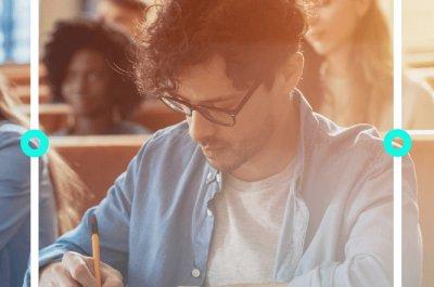 """Männlicher Student sitzt im Hörsaal und macht sich Notizen - Titelbild zu """"Kostenlose Software für Studenten"""" / Foto von Gorodenkoff via Adobe Stock"""