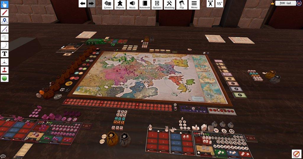 Das Bild zeigt einen Screenshot vom TabletopSimulator beim Pen and Paper online spielen