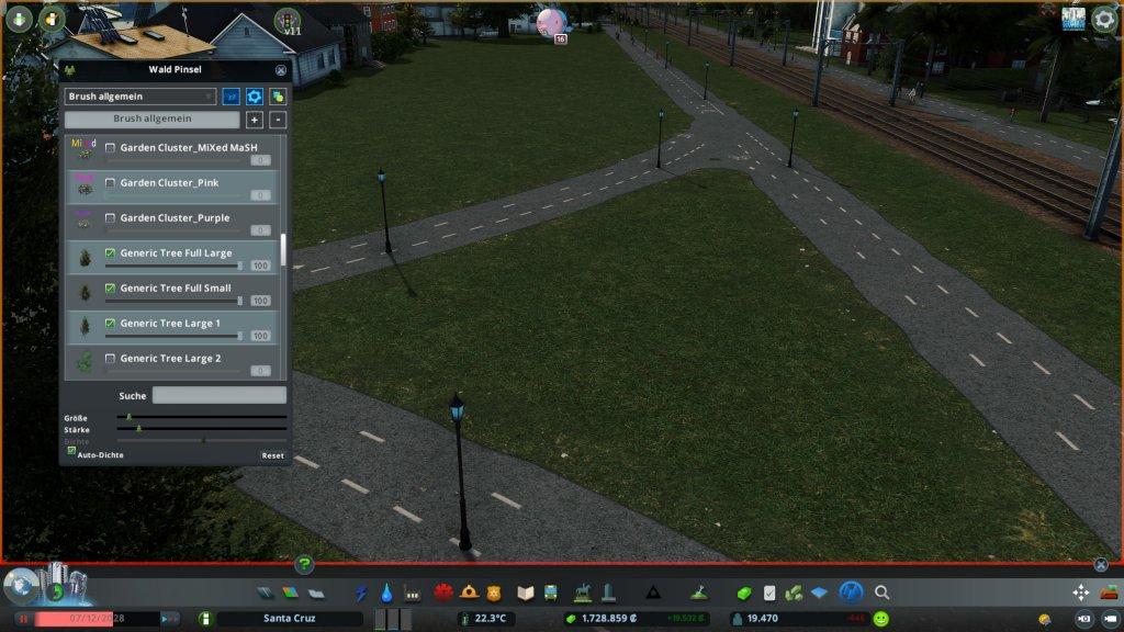 Eine Grünfläche in Cities Skylines ohne Bäume