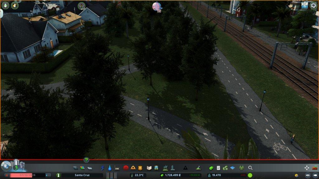 Eine Grünfläche in Cities Skylines mit Bäumem