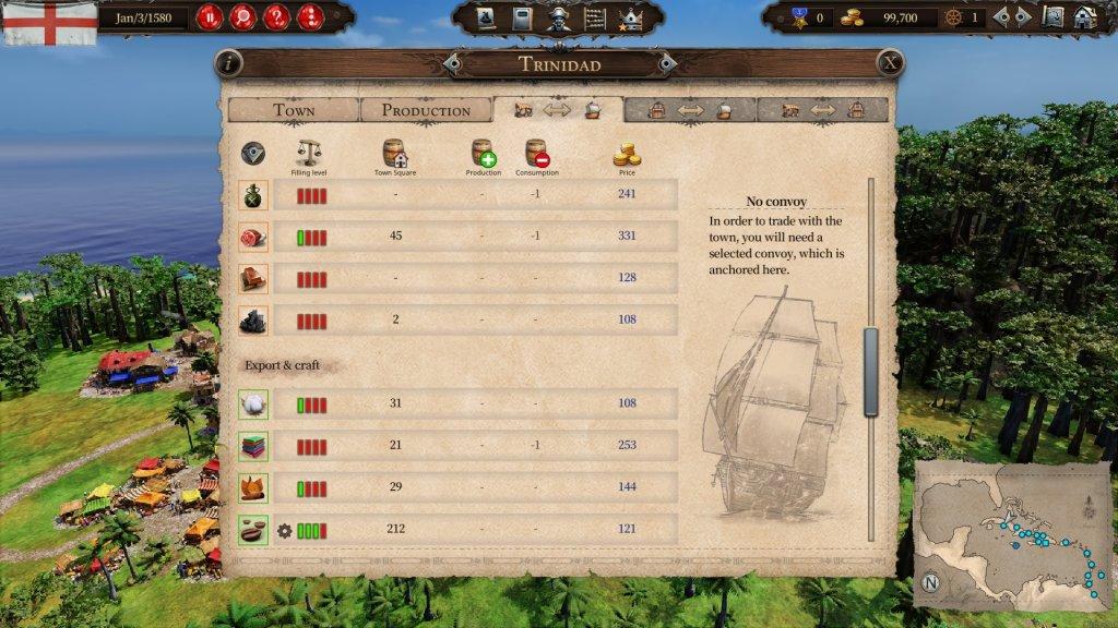 Das Bild zeigt das Handelsmenü aus Port Royale 4
