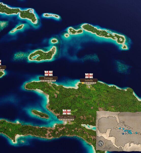Zeigt die Weltkarte von Port Royale 4 im Test