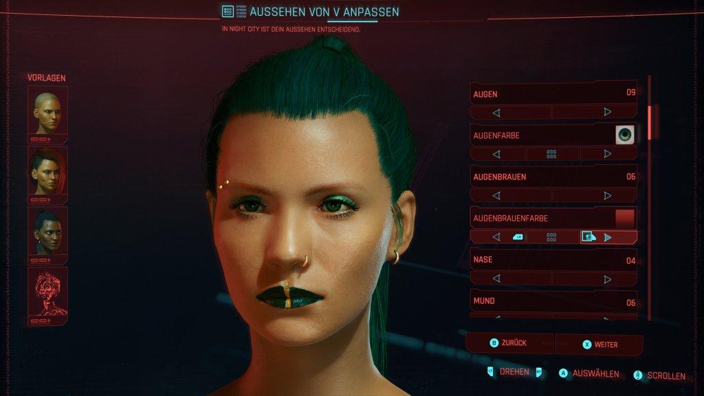 Charaktererstellung im Cyberpunk 2077 Test
