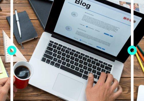 Mann hält ein Heißgetränk in der Hand und schreibt an einem Blog