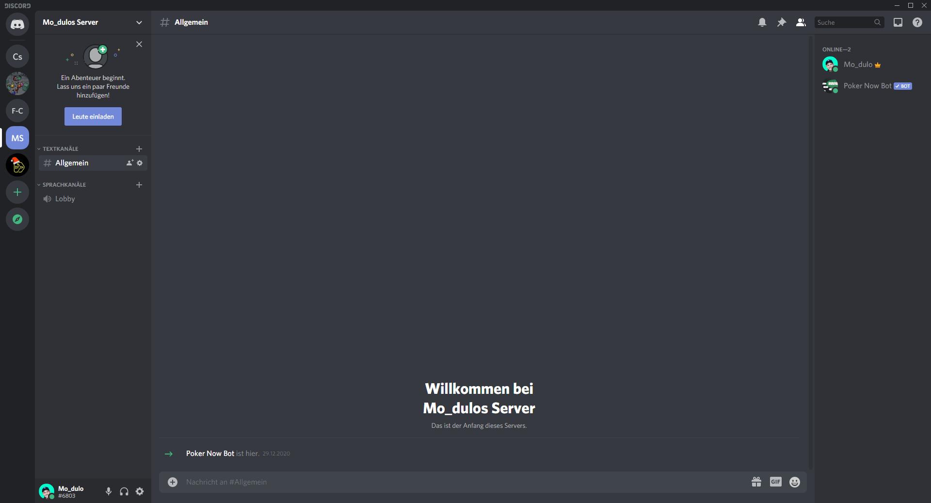 Screenshot aus Discord - discord zu nutzen ist ein Tipp für bessere Videocalls