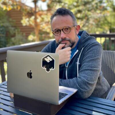 Phil Libin vor Laptop