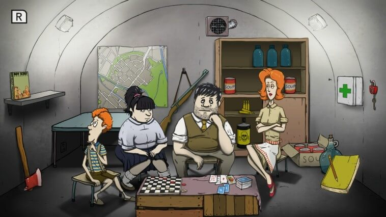 Timmy, Mary Jane, Ted und Dolores sitzen in ihrem recht gut ausgestatteten Bunker
