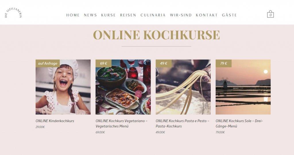 Startseite der Website die Sizilianerin mit der Übersicht verschiedener online Kochkurse