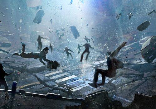 Bild zum Thema Game Design - Szene aus einem Spiel in der Menschen und Autos wie magisch durch die Luft gehoben werden - Bild von liuzishan via Adobe Stock