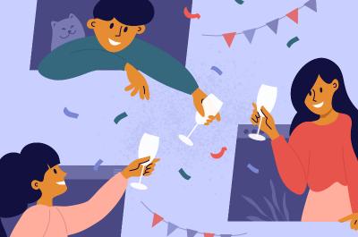 Animation, auf der 3 Freunde aus Bildschirmen ragen und gemeinsam Sekt trinken (Online-Aktivität)