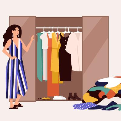 Animation, auf der eine Frau neben einem ordentlichen Kleiderschrank steht. Auf dem Boden liegt ein Haufen mit aussortierter Kleidung