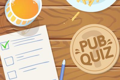 """Animierter Tisch mit Bier, einem """"Pub Quiz""""-Untersetzer, Fritten und einem Fragebogen"""