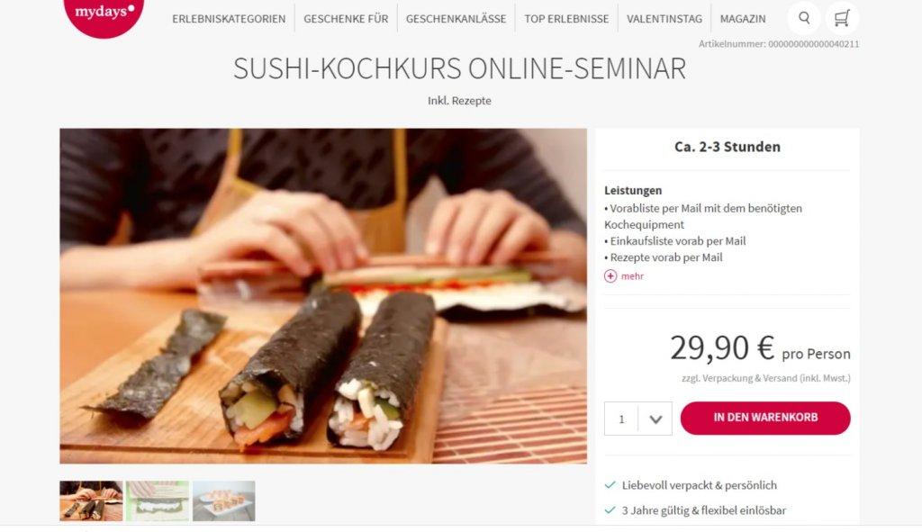 Ansicht der Website MyDays. Zu sehen ist der online Kochkurs Shushi.