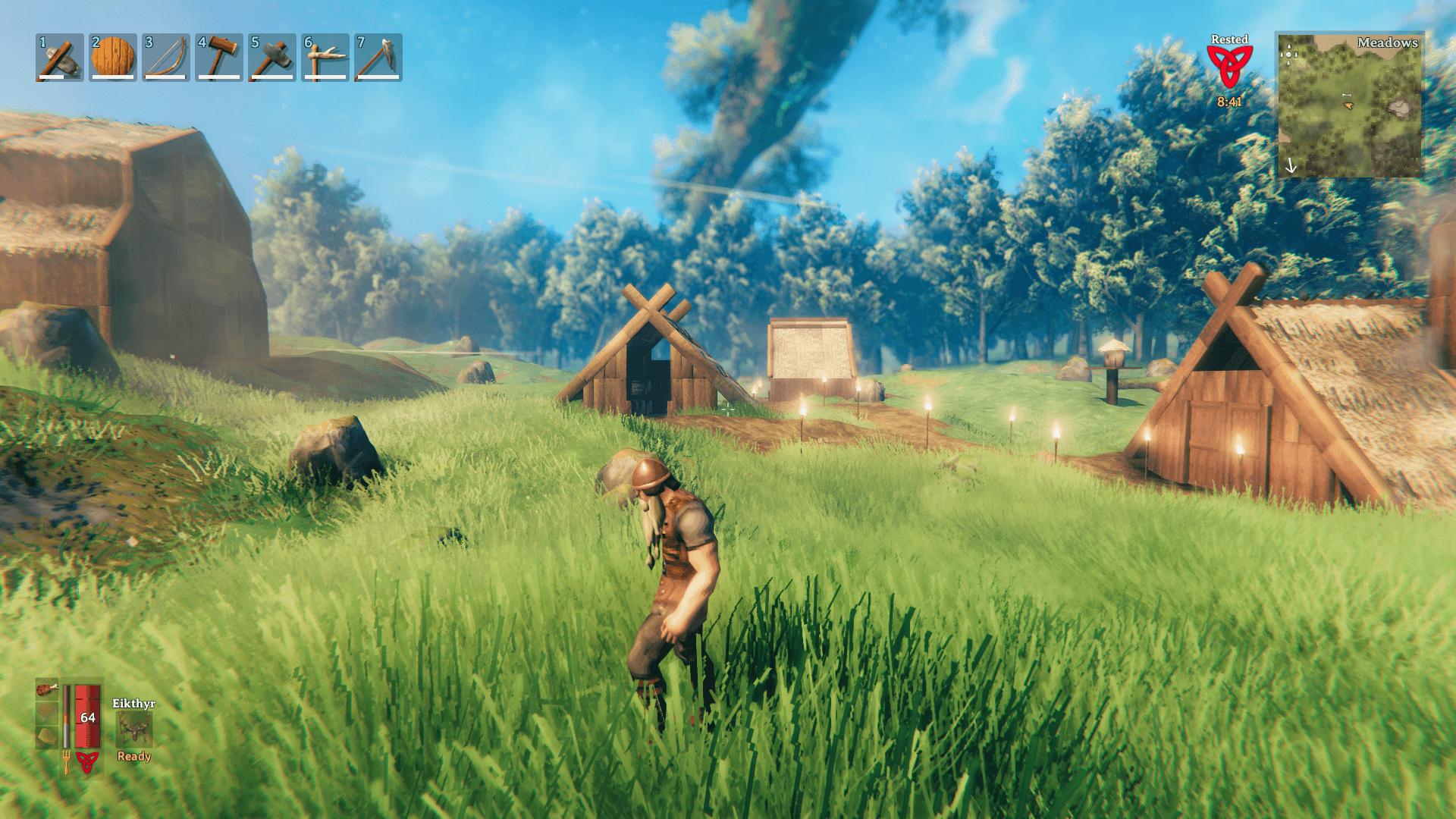 Screenshot eines selbstgebauten Dorfes aus Valheim.