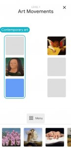 """Screenshot der Google Arts and Culture App. Abgebildet ist das Mini-Spiel """"visuall crossword"""". Ein Kreuzworträtsel mit Bildern zeitgenössischer und antiker Kunst."""