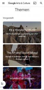 """Screenshot der Google Arts and Culture App. Zu erkennen ist ein Ausschnitt aus der Kategorie """"Themen"""" mit drei Beispielartikeln."""