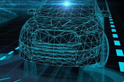 Ein autonomes Auto orientiert sich durch seine Sensoren