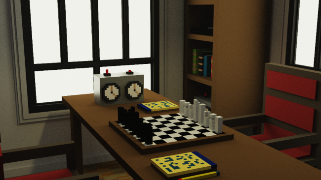 Rendering von einem Tisch mit Schachbrett