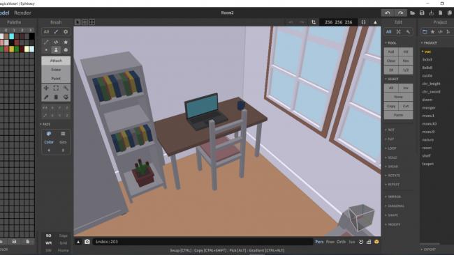Das Model-Interface in MagicaVoxel