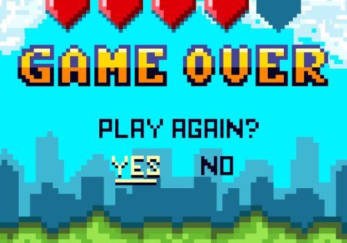 Game Over-Screen in einem Spiel