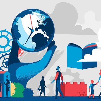 Illustration zur Zukunft von Arbeit und Bildung