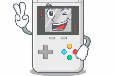 Eine comichafter Game Boy mit Händen, der einem zuzwinkert.
