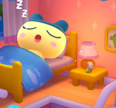 Ein Tamagotchi in My Tamagotchi Forever schläft