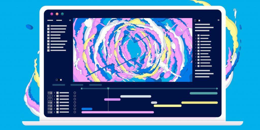 scrollytelling, Beispielbild, Bildschirm mit bunten Elementen