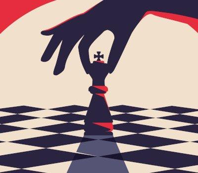 Schachbrett mit Hand, die König führt