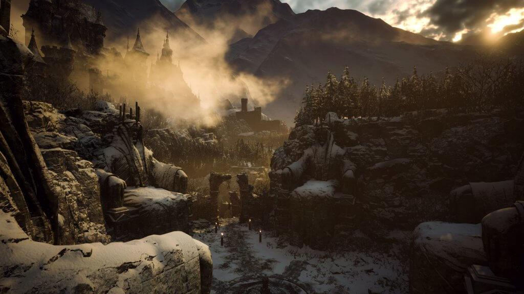 Blick auf das Spielgebiet mit Opferkreis im Vordergrund und Schloss Dimitrescu im Hintergrund