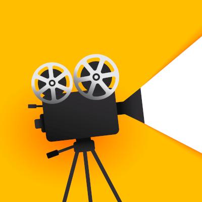 Beitragsbild Filmprojektor mit gelbem Hintergrund, der Licht auf rechte Seite schießt. Thema Film Podcasts
