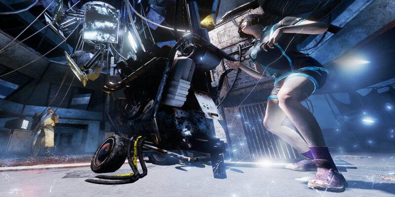 In dem Bild ist eine Frau zusehen die einen Generator zu repariert. Es fliegen Funken und im Hintergrund kann man einen Killer sehen.